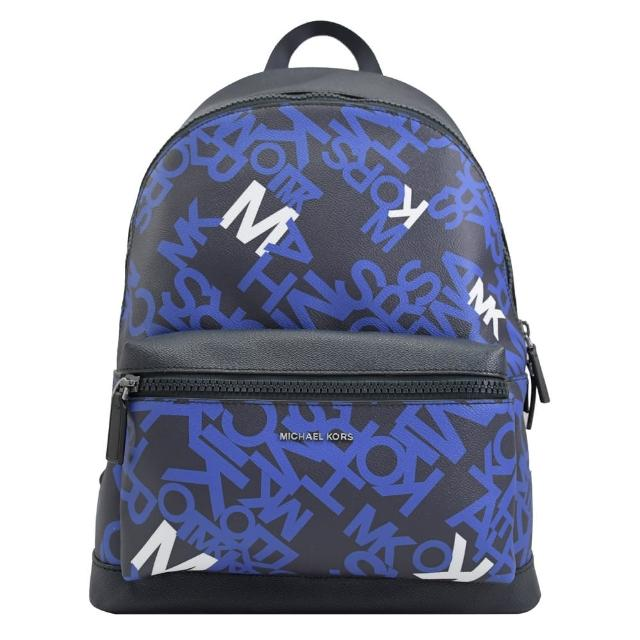 【Michael Kors】COOPER 滿版英文LOGO手提商務包後背包(藍黑)