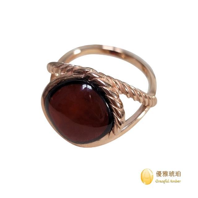 【優雅琥珀】來自波羅地海 紅珀 玫瑰金戒指(925純銀鍍玫瑰金 交叉刻紋戒指)