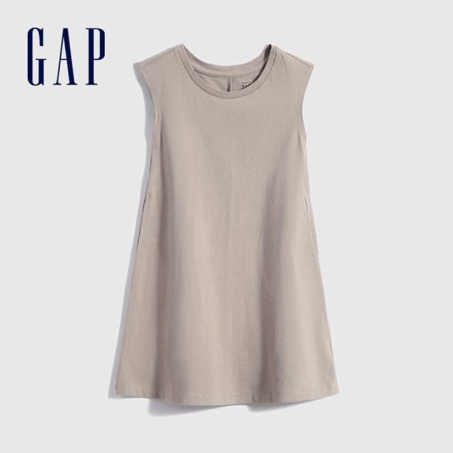【GAP】女幼童 雅致純棉無袖洋裝(697795-淺紫灰)