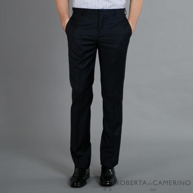 【ROBERTA 諾貝達】進口素材 修身設計 紳士西裝褲(藍黑)