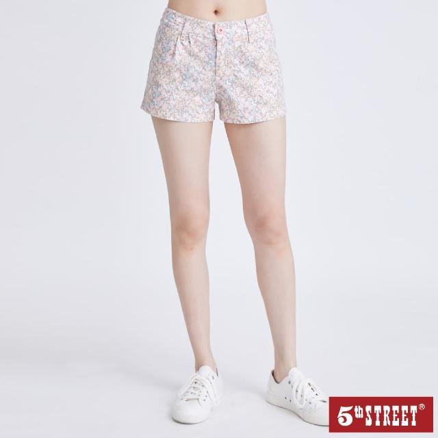 【5th STREET】女彈性花彩短褲-粉紅