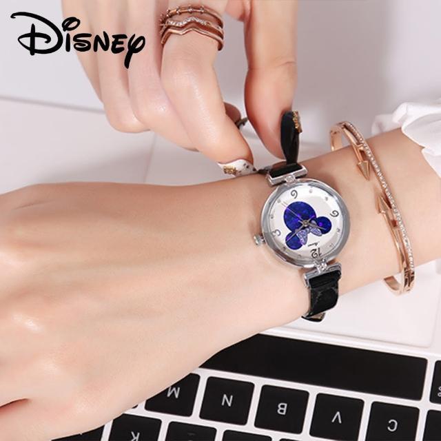 【Disney 迪士尼】米妮時尚防水皮錶帶水鑽石英女款手錶 女童手錶