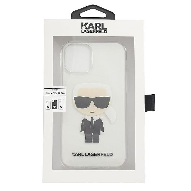 【KARL LAGERFELD 卡爾】老佛爺卡爾公仔造型I PHONE12/12 PRO保護套(透明)