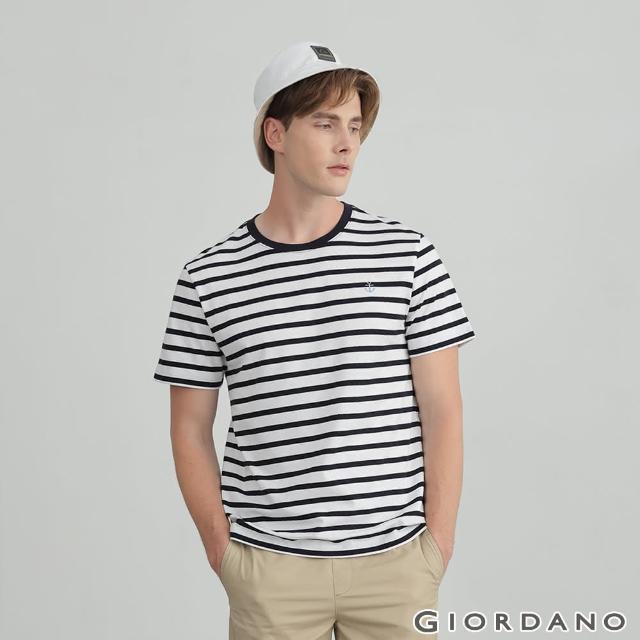 【GIORDANO 佐丹奴】男裝船錨刺繡條紋短袖T恤(01 雪白 X 標誌海軍藍)