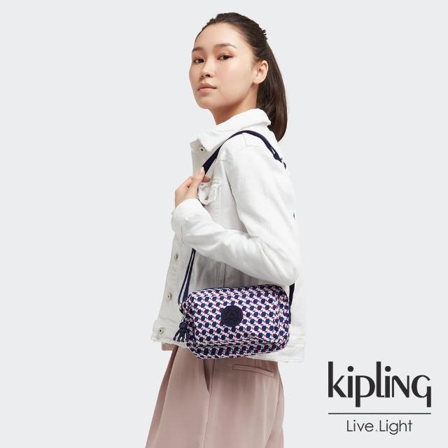 【KIPLING】典雅幾何印花前後加寬收納側背包-ABANU