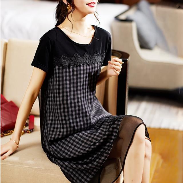 【Jisen】時髦出街蕾絲拼接網紗洋裝(XL-5L)