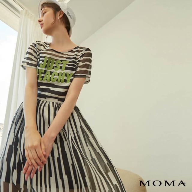 【MOMA】黑白幾何透膚洋裝(黑色)