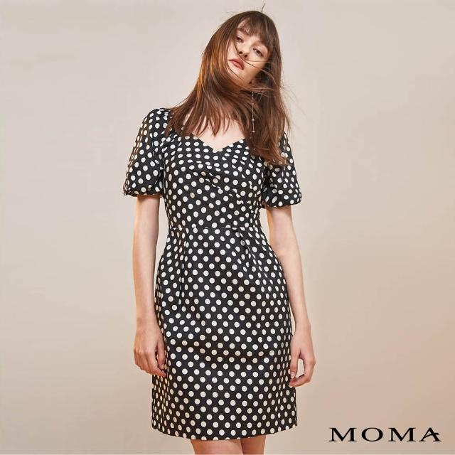 【MOMA】波點V領澎袖洋裝(黑色)