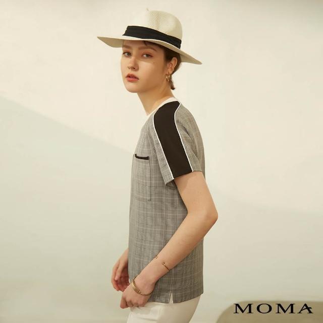 【MOMA】格紋拼接短袖上衣(灰色)
