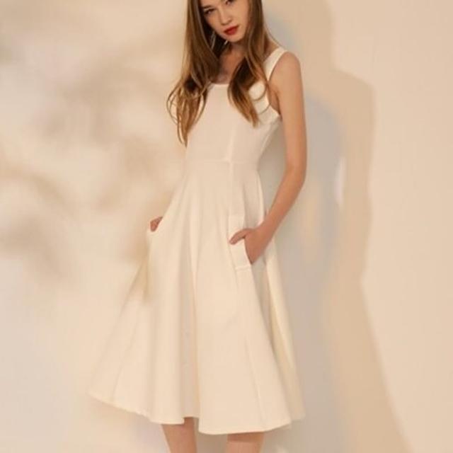 【米蘭精品】連身裙無袖洋裝(秋季白色修身中長款連衣女裙子73pu52)
