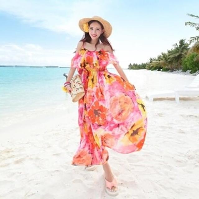 【米蘭精品】波西米亞連身裙(夏季優雅飄逸雪紡連衣女裙子73sg2)