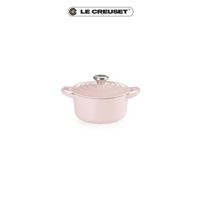【Le Creuset】琺瑯鑄鐵圓鍋14cm(雪紡粉-鋼頭)