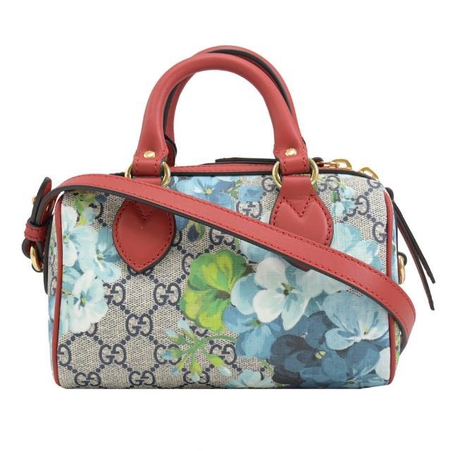 【GUCCI 古馳】GG Blooms 花卉PVC皮革拼接迷你兩用波士頓包(紅/藍花)