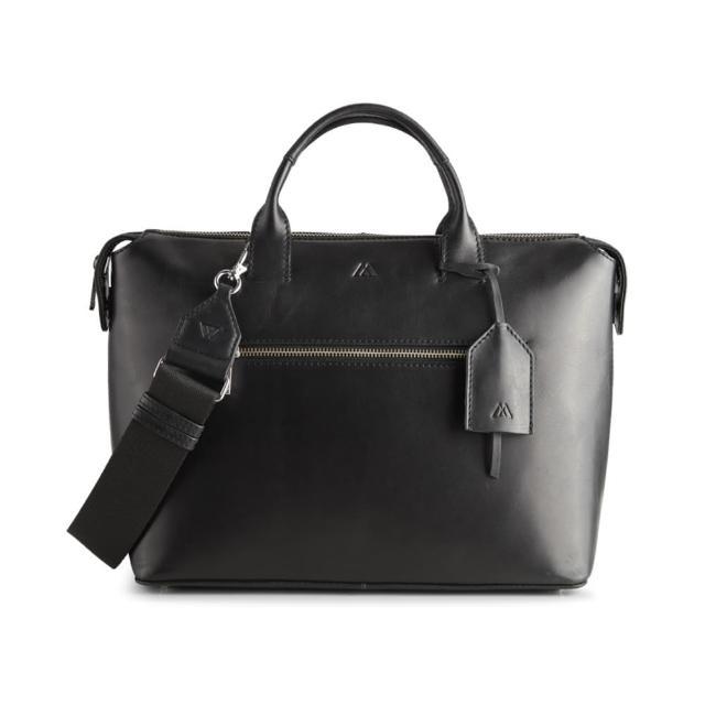 【MARKBERG】Abrielle 丹麥手工牛皮時尚公事包 手提包 斜背包(簡約黑)