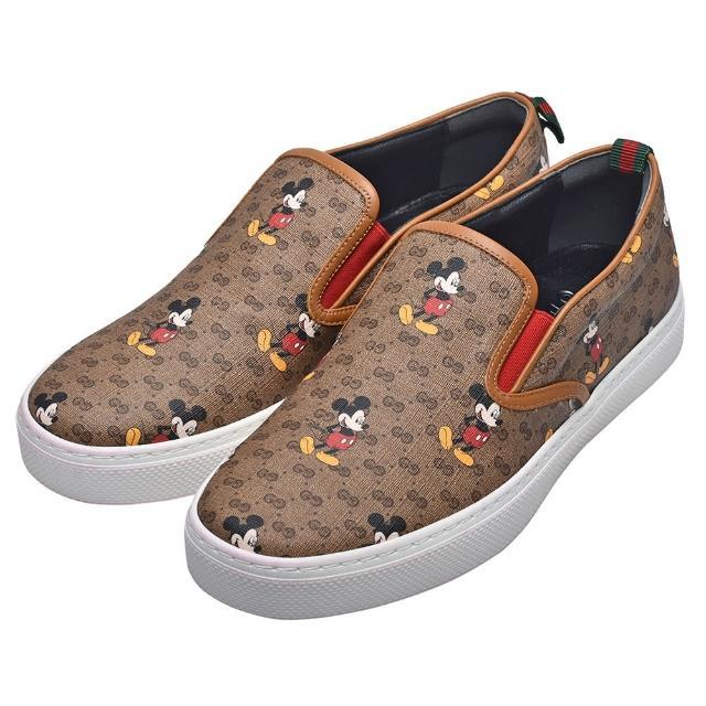 【GUCCI 古馳】Disney聯名系列米奇圖案GG帆布復古仿舊風格休閒鞋(男603689-HU10-8492)