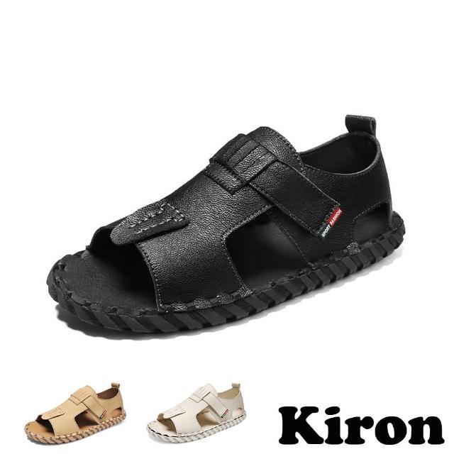 【Kiron】羅馬涼鞋 平底涼鞋/百搭復古舒適魔鬼黏個性平底涼鞋-男鞋(3色任選)