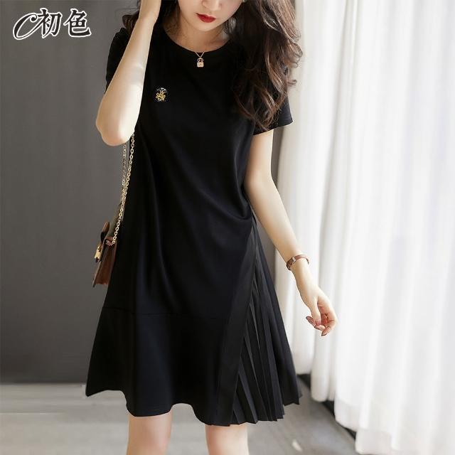 【初色】時尚拼接百摺洋裝-黑色-99117(M-2XL可選)