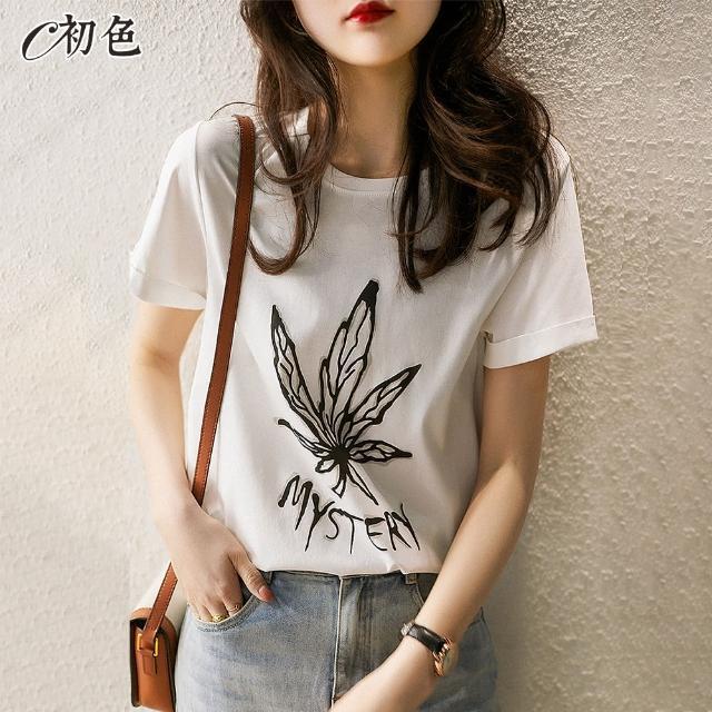 【初色】楓葉印花休閒T恤-白色-99068(M-2XL可選/現貨+預購)