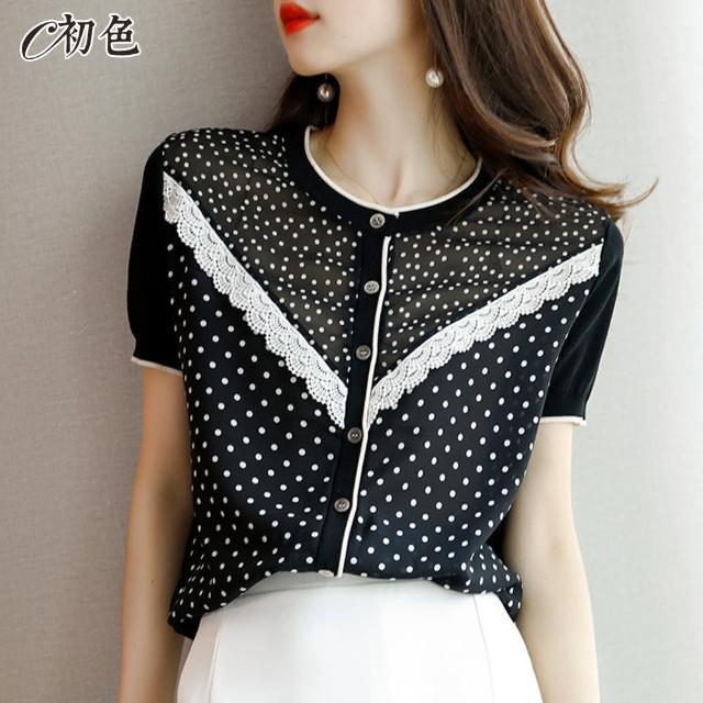 【初色】蕾絲波點雪紡衫-黑色-99049(M-2XL可選)