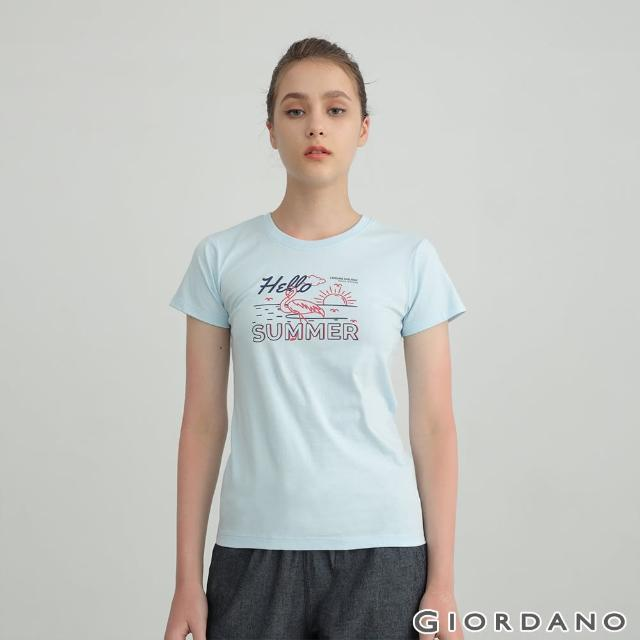 【GIORDANO 佐丹奴】女裝夏日紅鶴印花T恤(01 粉藍)
