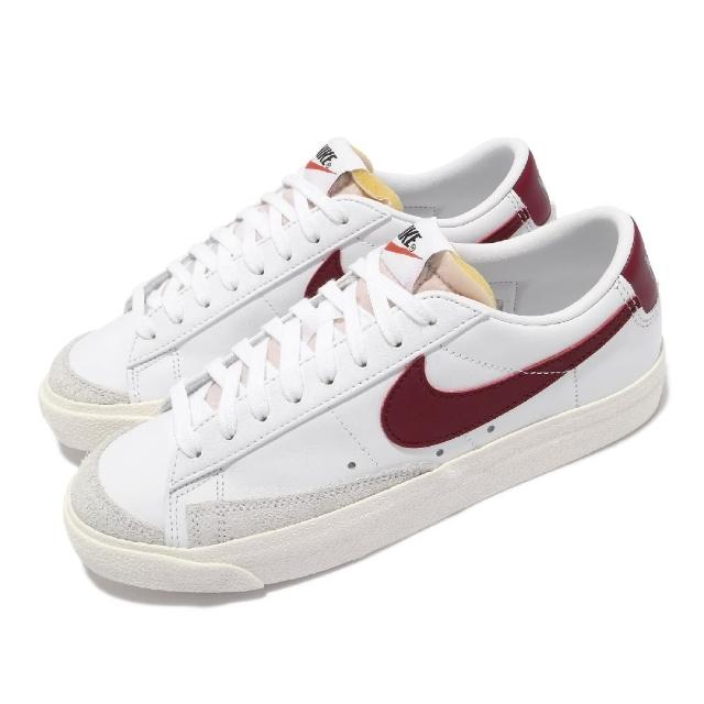 【NIKE 耐吉】休閒鞋 Blazer Low 77 運動 女鞋 基本款 簡約 復古 舒適 球鞋 穿搭 白 酒紅(DC4769-104)
