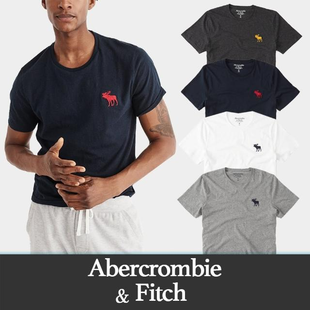 【Abercrombie & Fitch】A&F 麋鹿 經典圓領刺繡大麋鹿素面短袖T恤-多色款組合(必備基本款 情侶可搭)