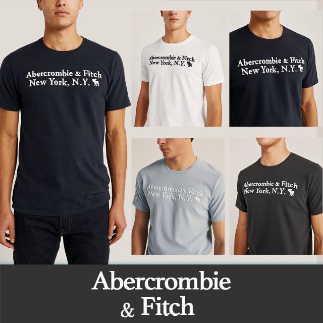【Abercrombie & Fitch】麋鹿 AF A&F 經典刺繡麋鹿文字短袖圖案T恤-多色款組合(必備基本款 情侶可搭)