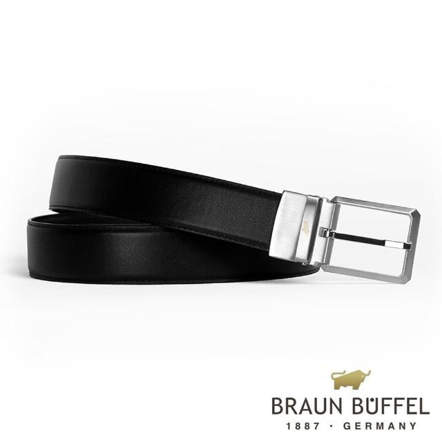 【BRAUN BUFFEL 德國小金牛】極簡紳士品格穿針式皮帶-銀色(BF19B-803T-SNK)