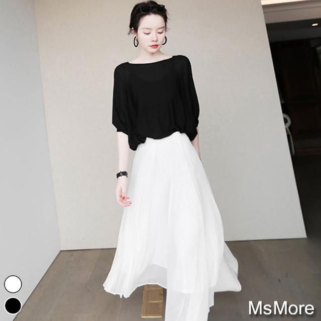 【MsMore】UMOOIE 和風一字領設計款冰絲針織上衣#109404現貨+預購(2色)