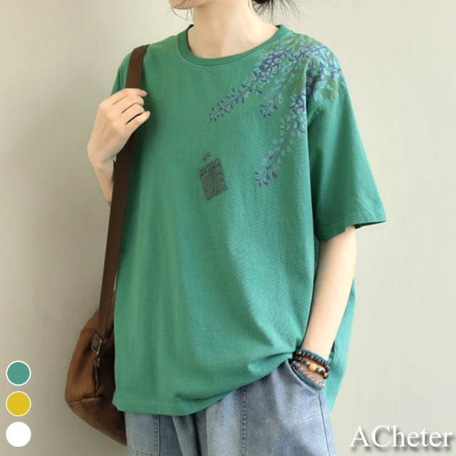 【ACheter】仲夏復古印花文藝短袖上衣T恤#109225現貨+預購(3色)