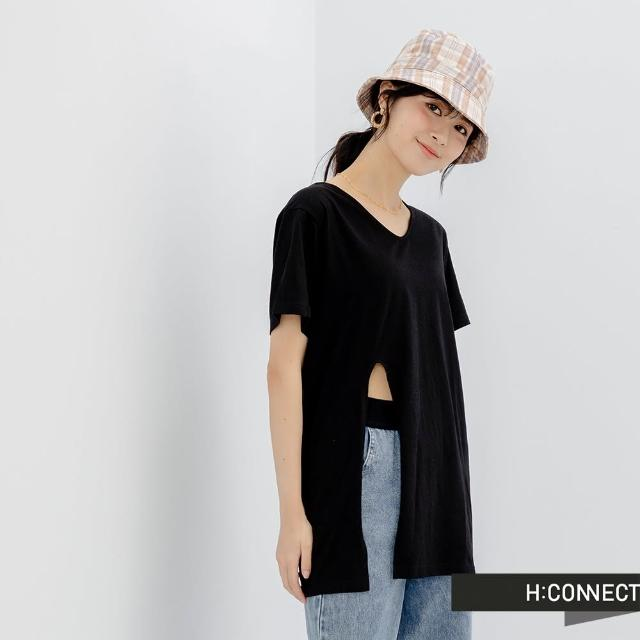 【H:CONNECT】韓國品牌 女裝 -圓領純色側開衩短袖長版上衣(黑色)