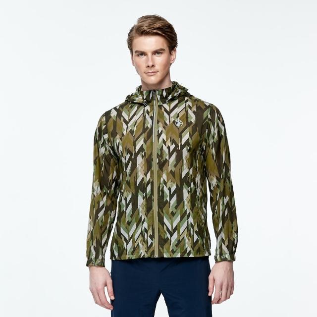 【Wildland 荒野】男N66透氣抗UV印花輕薄外套(墨綠色)