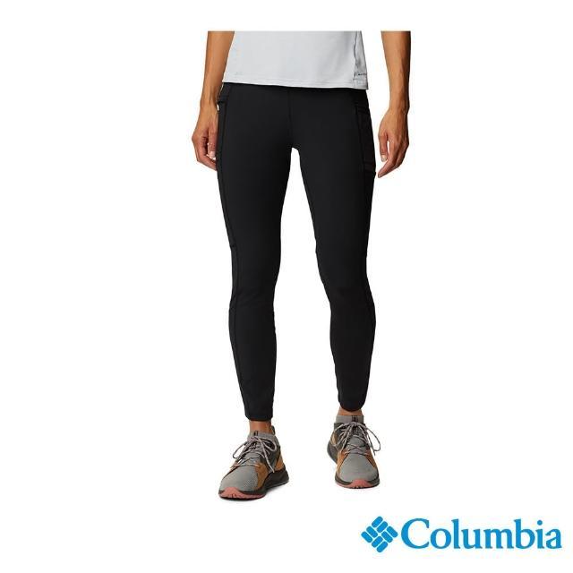 【Columbia 哥倫比亞】女款- UPF50快排彈性運動長褲-黑色(UAR21760BK / 快排.防曬.休閒)