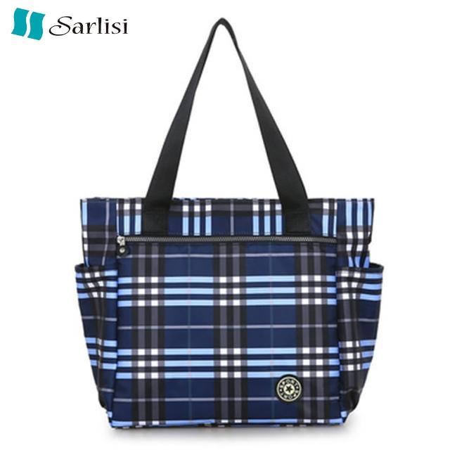【Sarlisi】新款購物袋布包格子包牛津布手提單肩大包旅行媽媽包帆布包