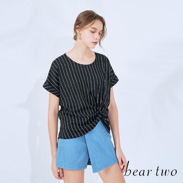 【bear two】涼感扭結印花上衣(兩色)
