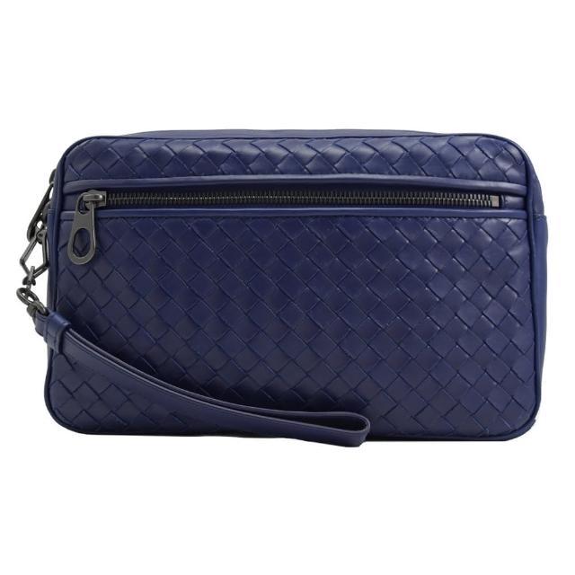 【BOTTEGA VENETA 寶緹嘉】經典編織羊皮手拿大商務包萬用包(紫藍)