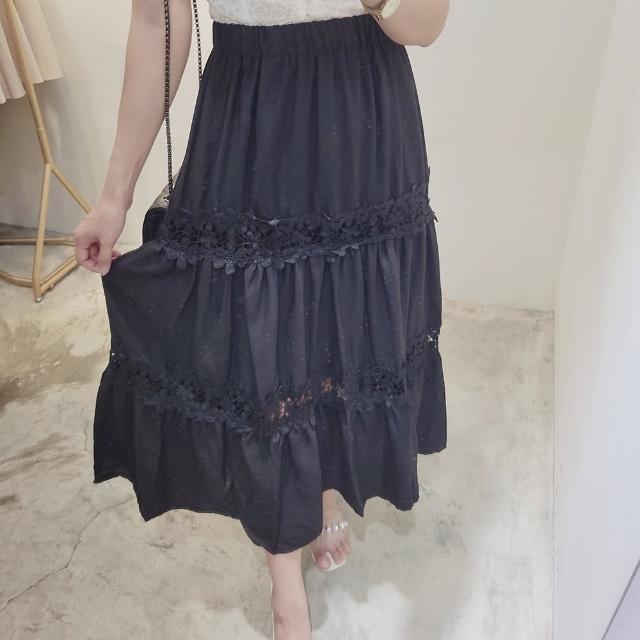 【BBHONEY】高腰顯瘦百搭蕾絲拼接中長款半身裙(網美熱搜款)