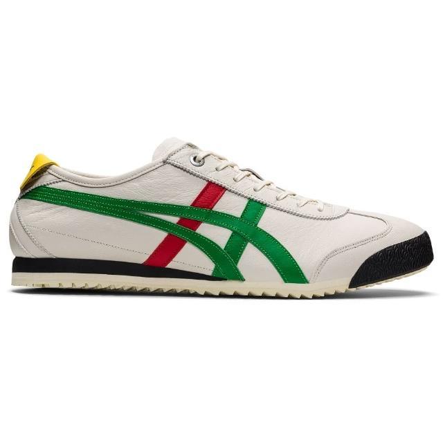 【Onitsuka Tiger】鬼塚虎 官方旗艦店 MEXICO 66 SD 休閒鞋 米色底綠紅邊(1183A872-100)