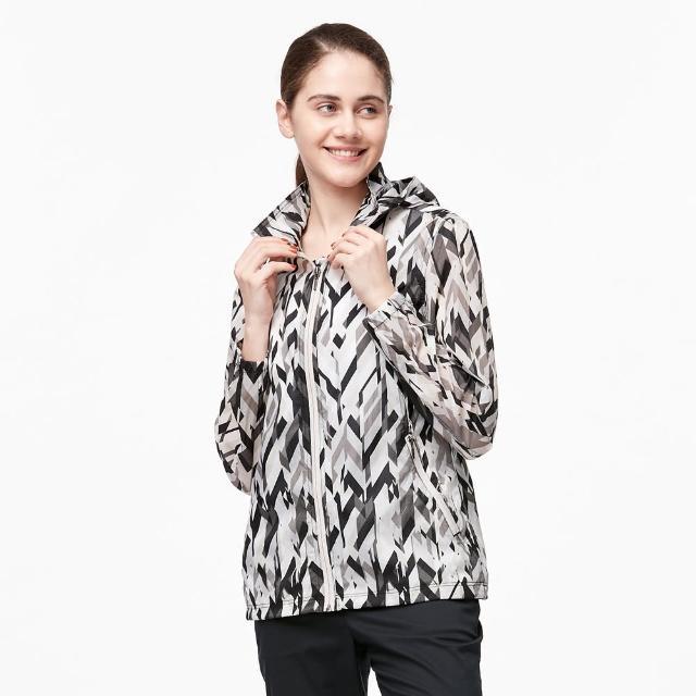 【Wildland 荒野】女N66透氣抗UV印花輕薄外套(黑色)