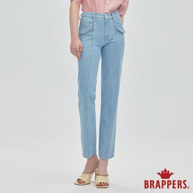 【BRAPPERS】女款 Boy Friend系列-中腰全棉直筒褲(淺藍)