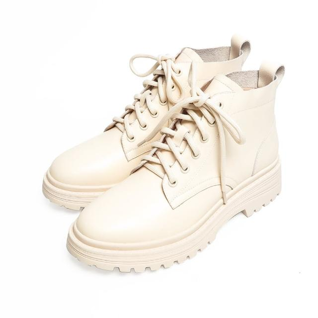 【KOKKO 集團】歐美經典牛皮綁帶馬丁短靴(米色)