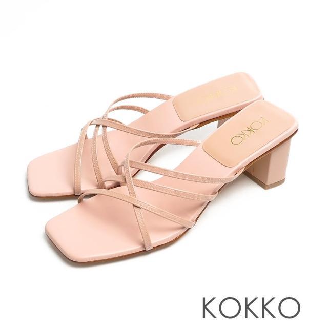 【KOKKO 集團】時髦方頭珍珠光細帶小牛皮粗跟涼拖鞋(粉紅色)