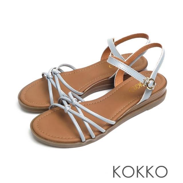 【KOKKO 集團】立體扭轉細帶小牛皮舒壓彈力楔型涼鞋(水藍色)