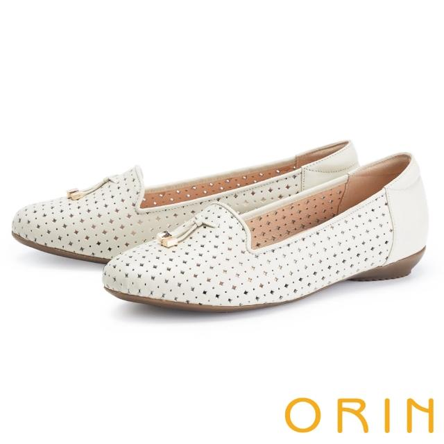 【ORIN】造型簍空真皮樂福 女 平底鞋(白色)