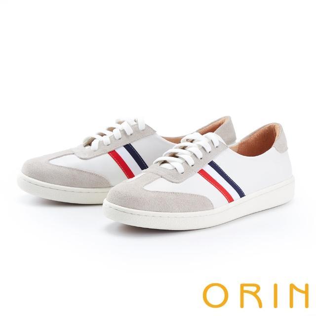 【ORIN】個性拼接綁帶真皮平底 女 休閒鞋(白色)