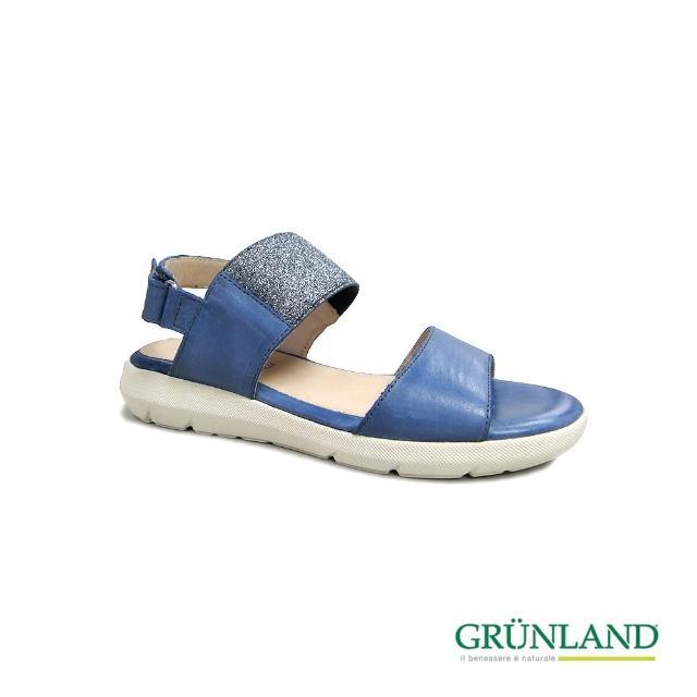 【GRUNLAND】義大利夏日動能健走彈力氣墊平厚底涼拖鞋 藍(義大利進口健康舒適鞋)