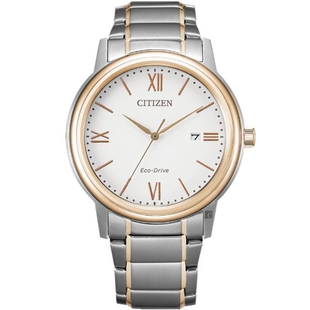 【CITIZEN 星辰】光動能城市手錶-銀x玫瑰金(AW1676-86A)