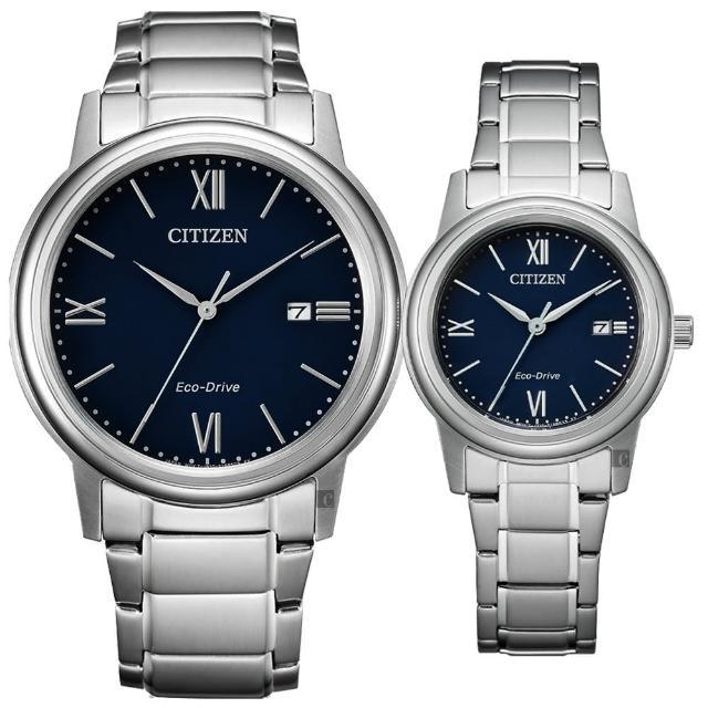 【CITIZEN 星辰】光動能城市手錶 對錶-藍(AW1670-82L+FE1220-89L)
