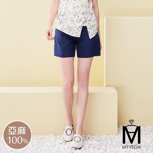 【MYVEGA 麥雪爾】MA棉麻蕾絲套裝短褲-深藍