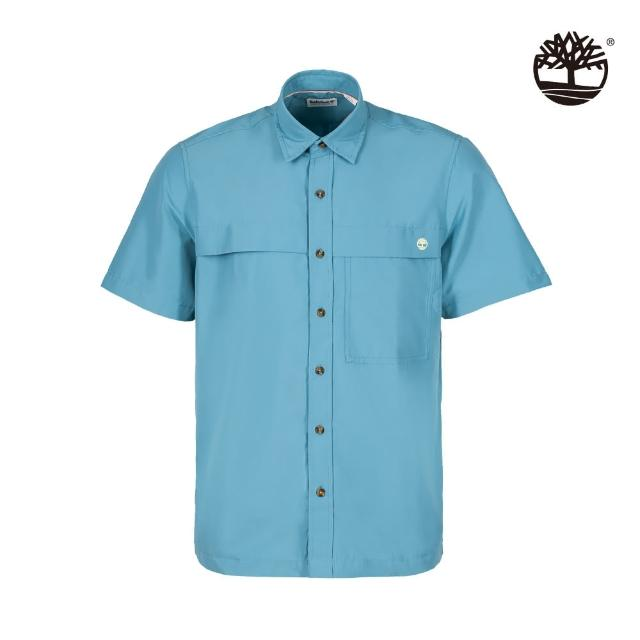【Timberland】男款海藍色有機棉吸濕排汗短袖襯衫(A2E22BE3)